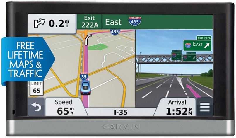 The Garmin nuvi 2597 comes with a  5 inch high resolution touch screen and voice navigation.