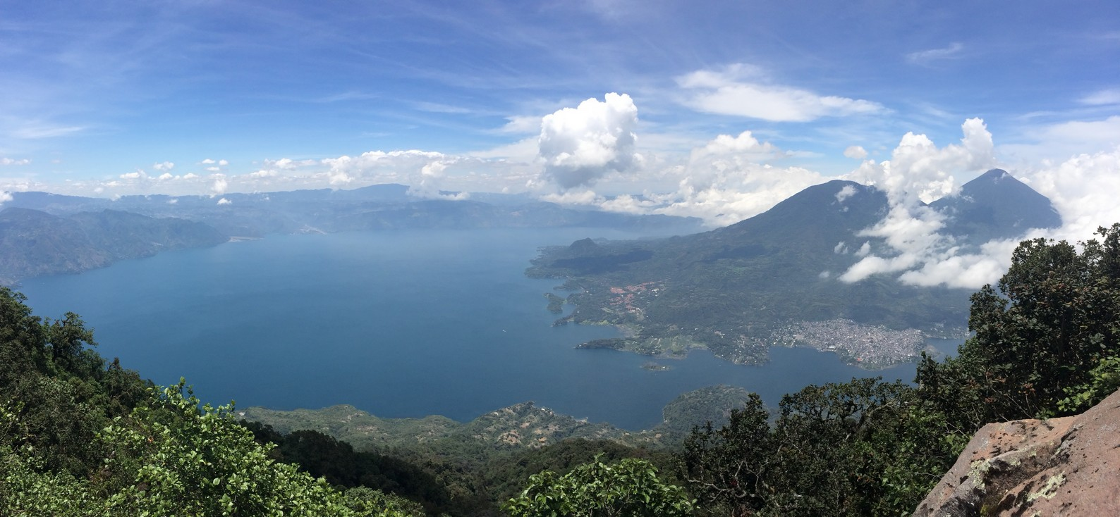 Panoramic view of Lake Atitlan with  Tolimán  and  Atitlán  Volcanoes on the right.