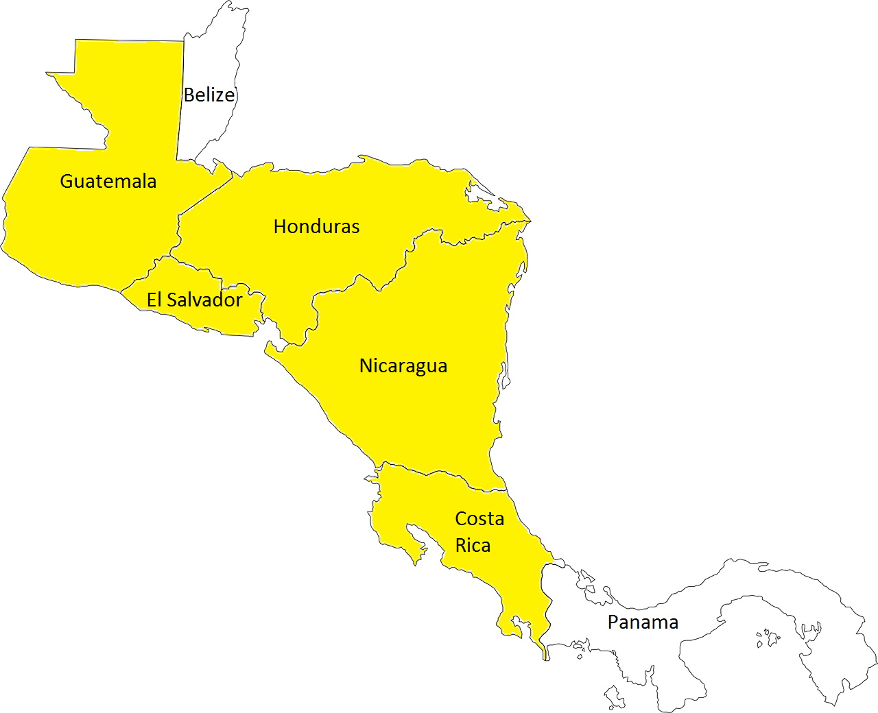 Central American Geography 101. The yellow countries indicate those we'd be driving in / through.