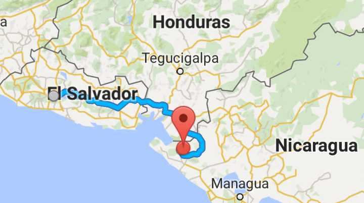 Our route for day 2. Cutting across the southern tip ofHonduras and into Nicaragua.