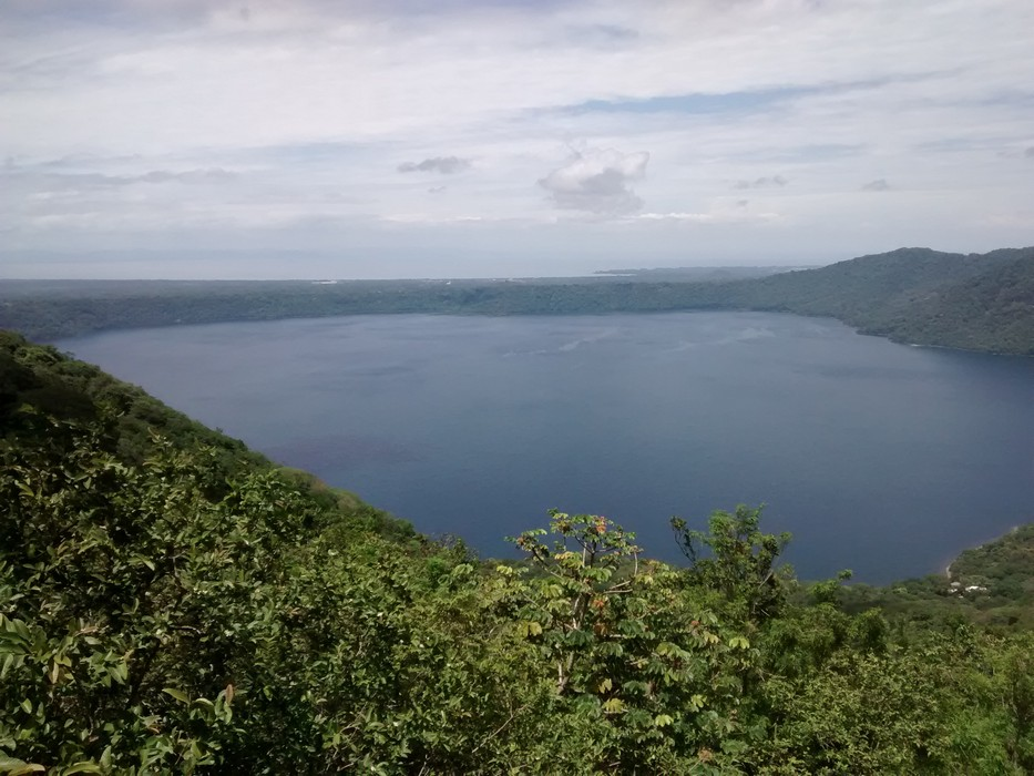 Laguna de Apoyo from above. You can see the shores of Lake Nicaragua in the background.