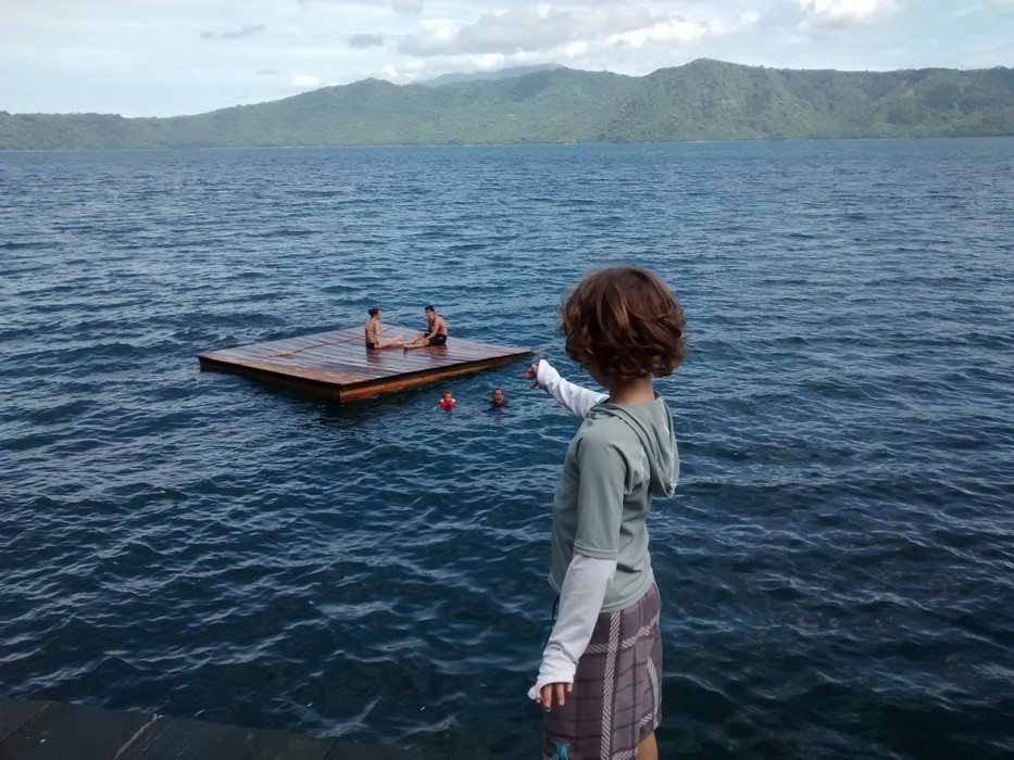 Tag was eager to swimin the lagoon. He said he was going to swim to the floating dock, and did.