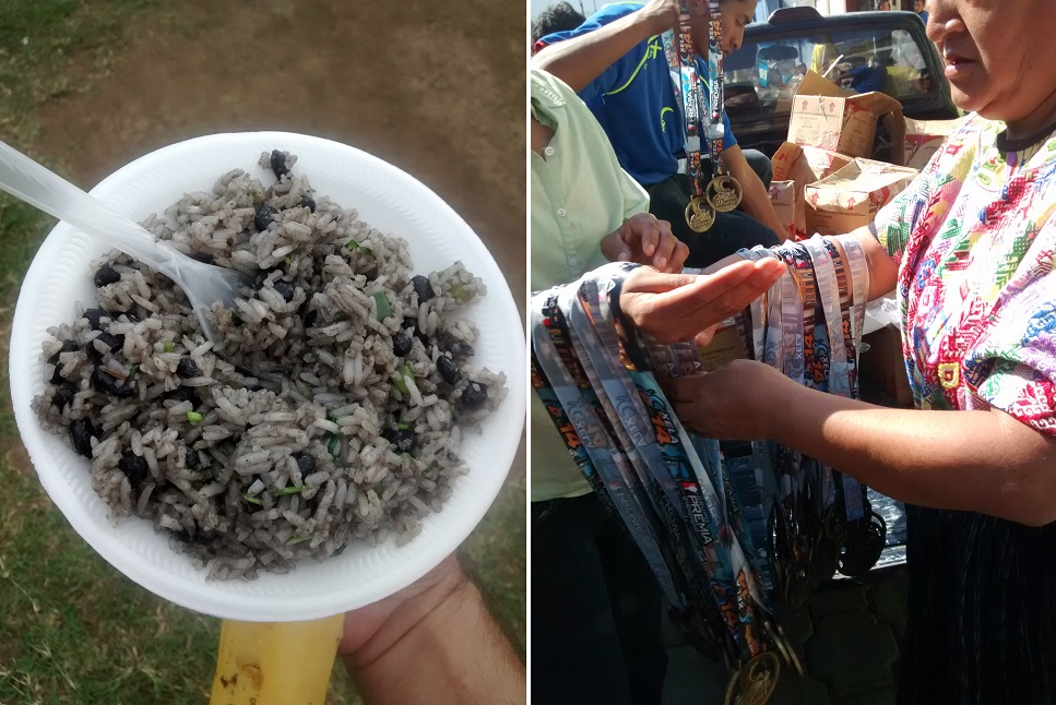 "Left: The Gallo Pinto (commonly called just ""pintos"") were delicious! Right: Note the Mayan traje on the woman handing out the medals."
