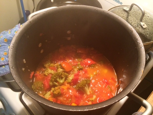 Homemade tomato sauce. Once it goes through the Vitamix, the kids will have no ideas how many veggies they're eating -- tomatoes, broccoli, peppers, carrots, onions, garlic to start. I tend to put in it whatever looks good at the market and whatever we have in the fridge.