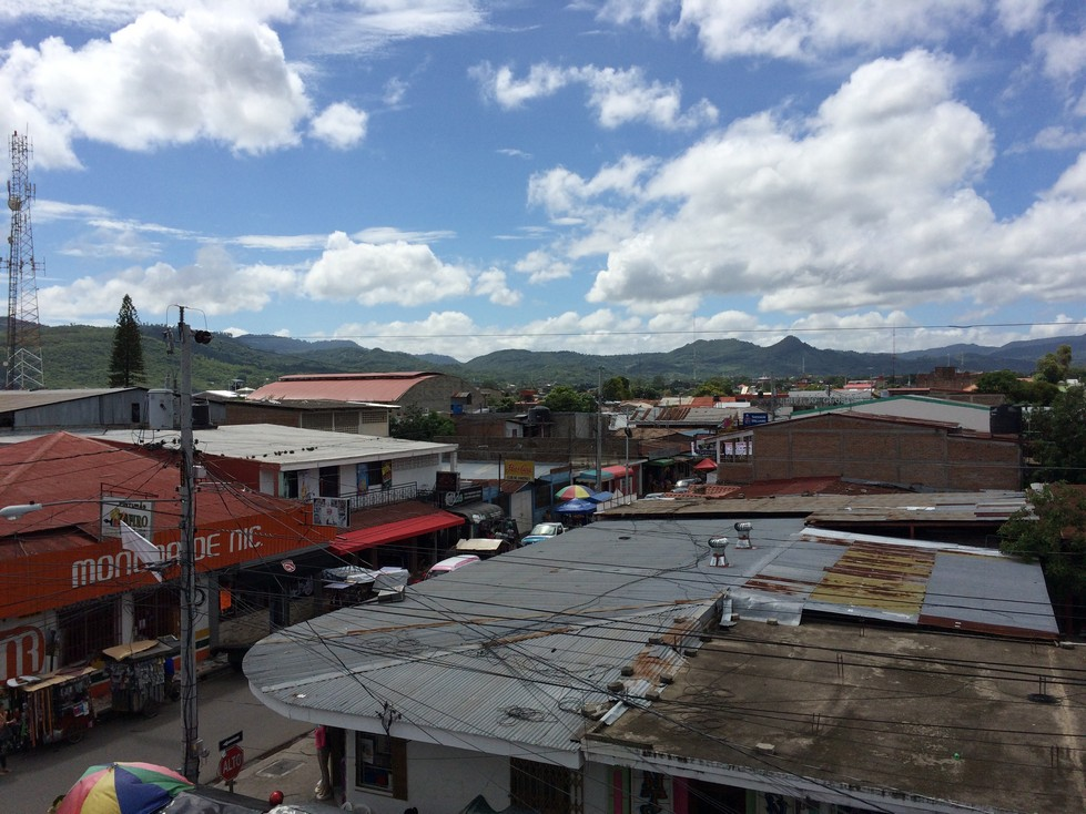 This is a view of town from the 3rd floor balcony of the above picture. The street you can kind of see if the town's main street leading to Parque Central. It's not the prettiest town, but it's an accurate representation of many towns in Central America.