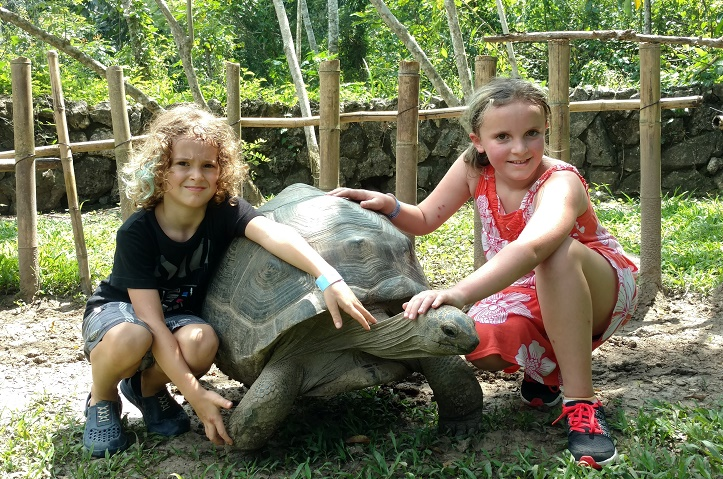 Ela loved the tortoise. Tag humored us by posing for a pic.