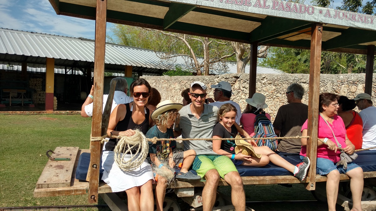 Obligatory family picture while sitting on a horse drawn cart