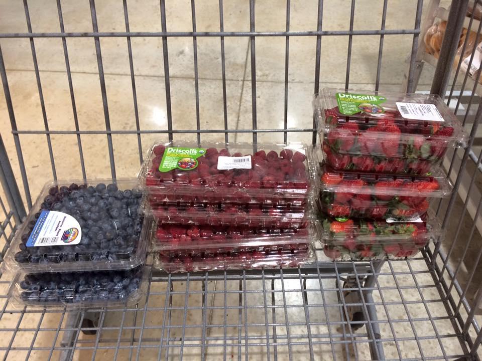 Organic blueberries and raspberries! We've missed you.