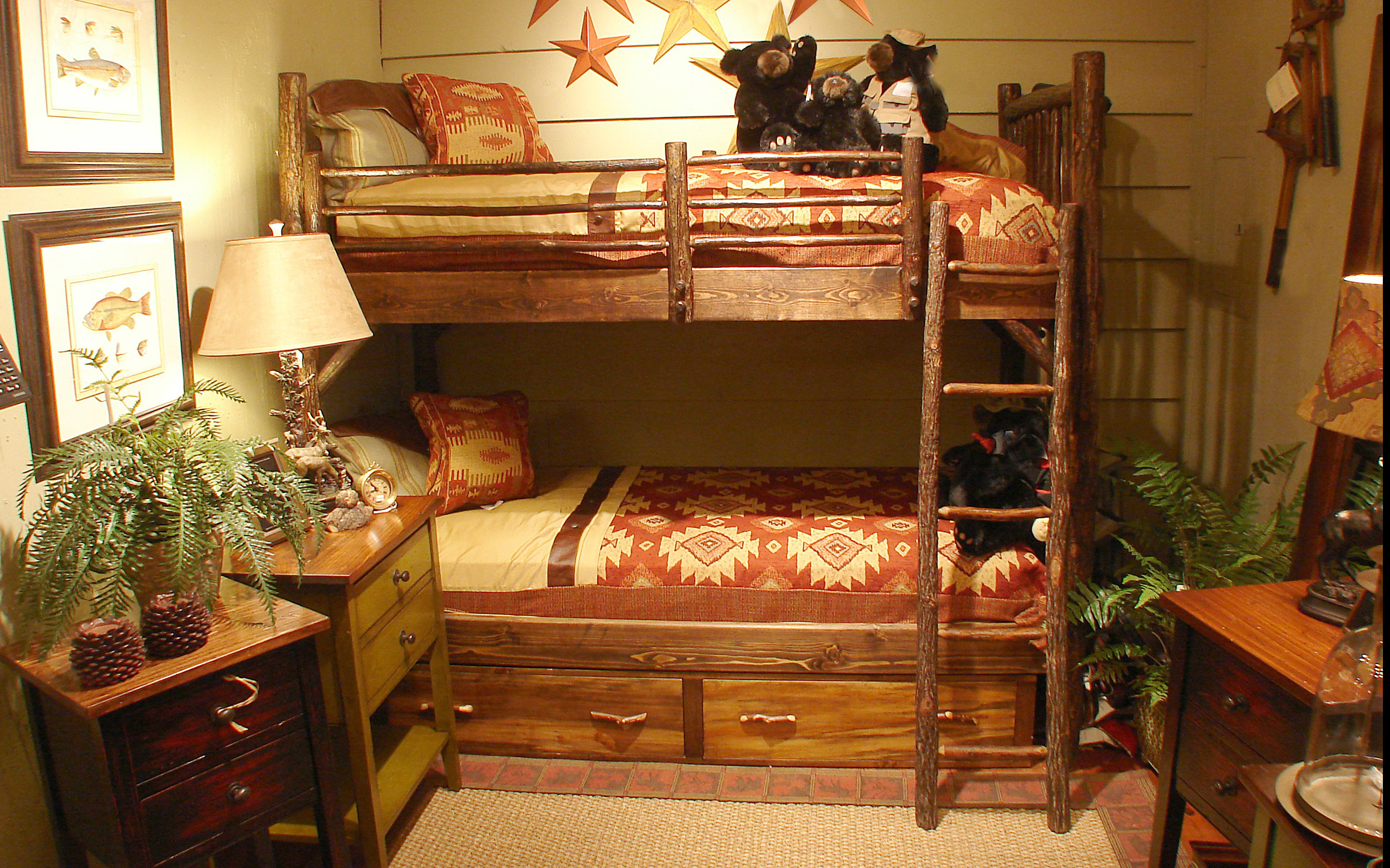 Kids love bunkbeds and we build them in our own workshop. Whether you like the natural wood and bark look, or painted a special finish, we can accommodate almost any request. We can even build it with other wood types for a cleaner look.