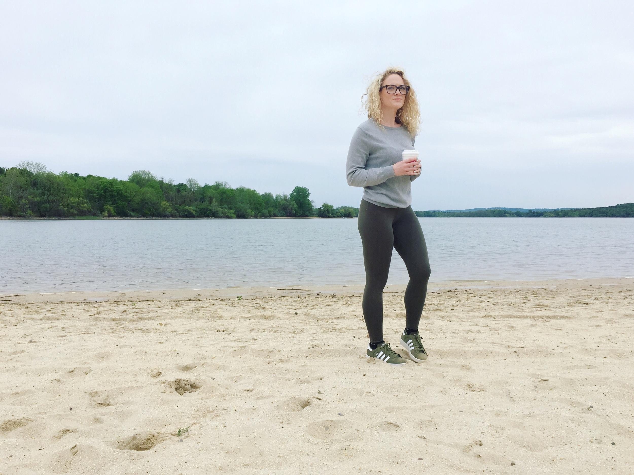 rainy beach style. { glasses ,  sweater ,  leggings ,  sneaks }