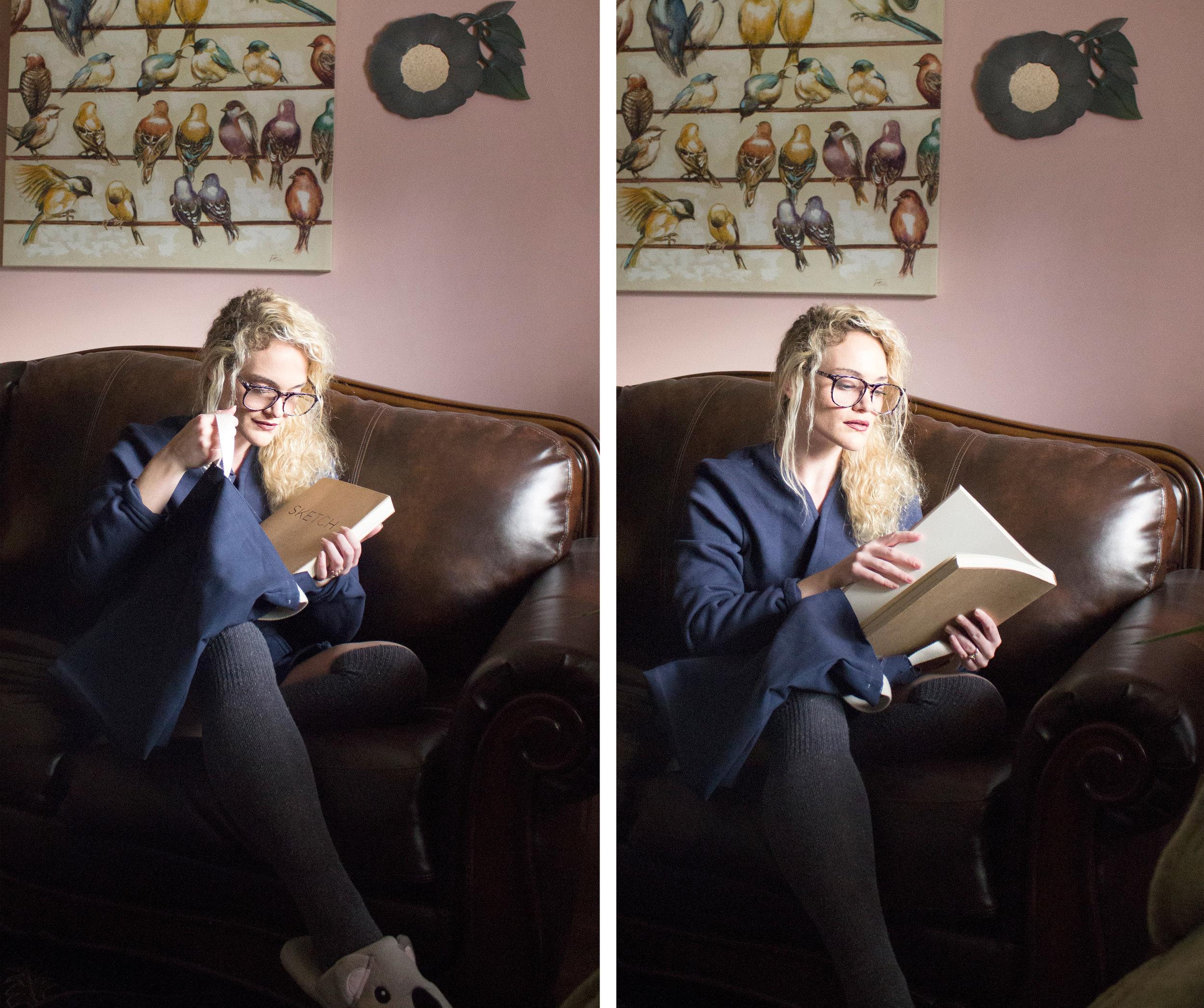 robe  |  canvas duffle  |  glasses  |  socks  |  slippers