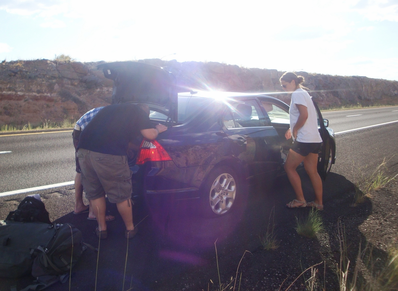a flat tire is the price of adventure on a CS road trip in Nevada