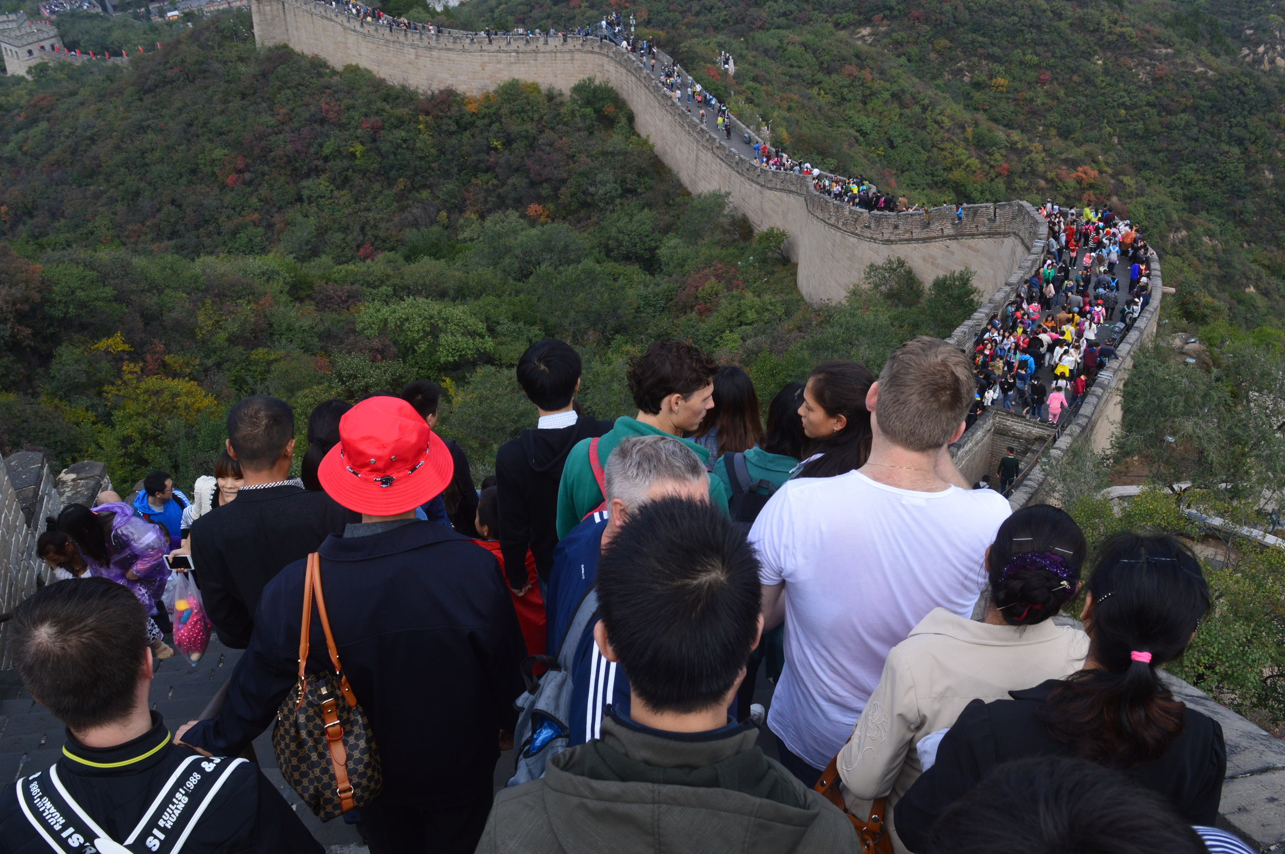 a crowded Great Wall during China's Golden Week
