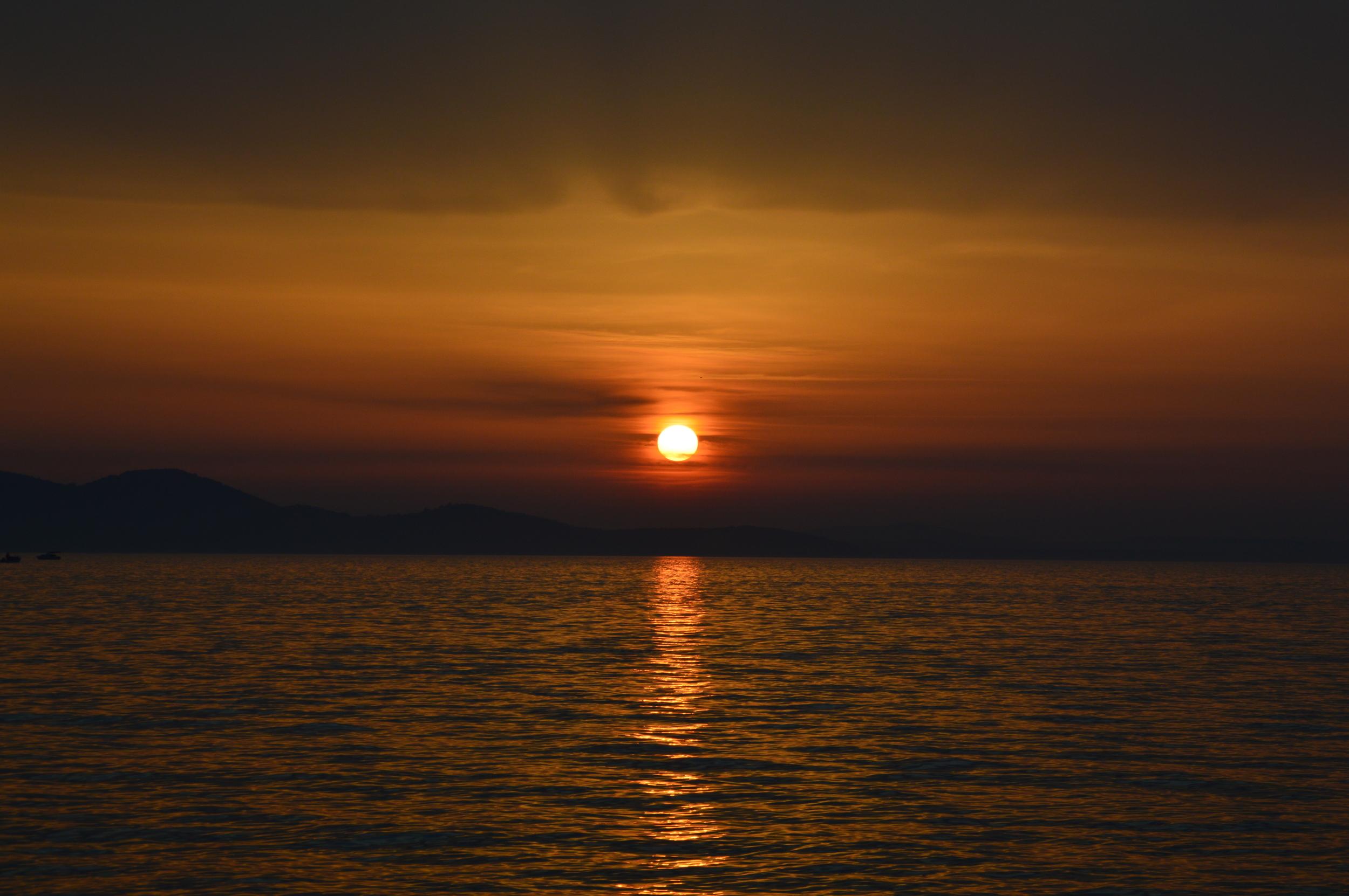 Budget travel in Zadar, Croatia. Beautiful sunset.