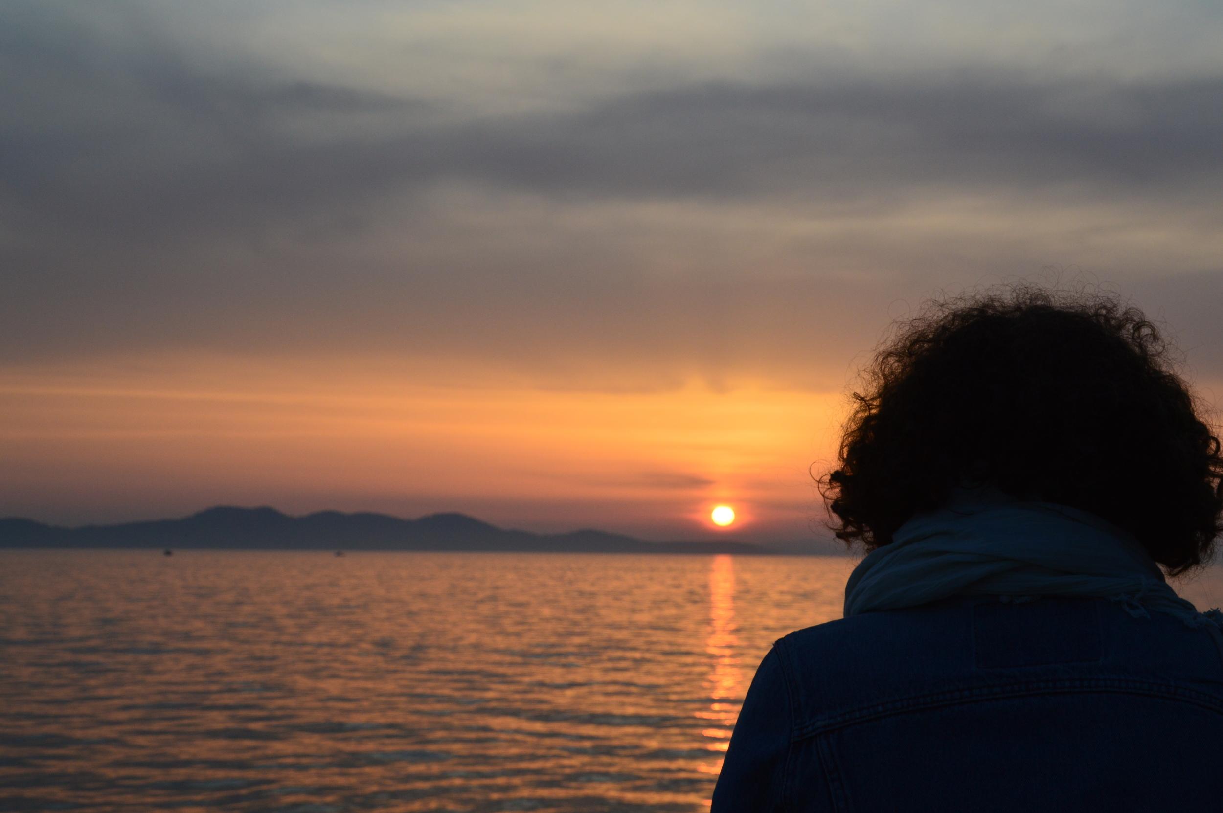 Beautiful sunset in Croatia. Budget travel in Zadar, Croatia.