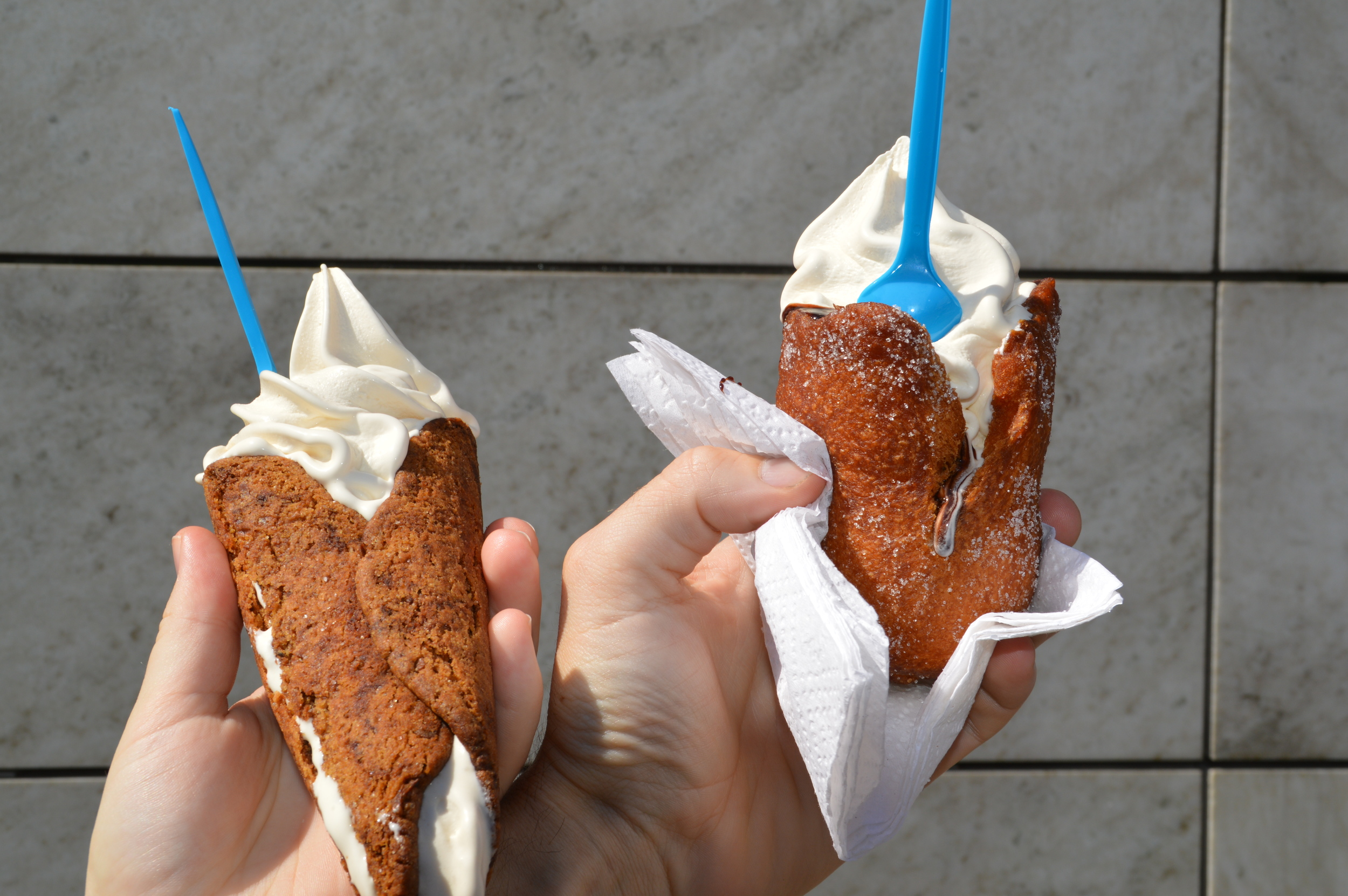 Vegan soft serve in a donut or cookie cone, from Jonsborg in Gothenburg.
