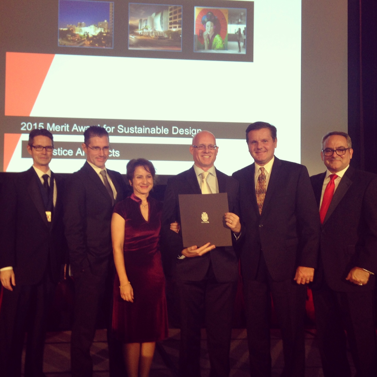 The Solstice Architects team gathered at the Boca Raton Resort to accept the Merit Award.