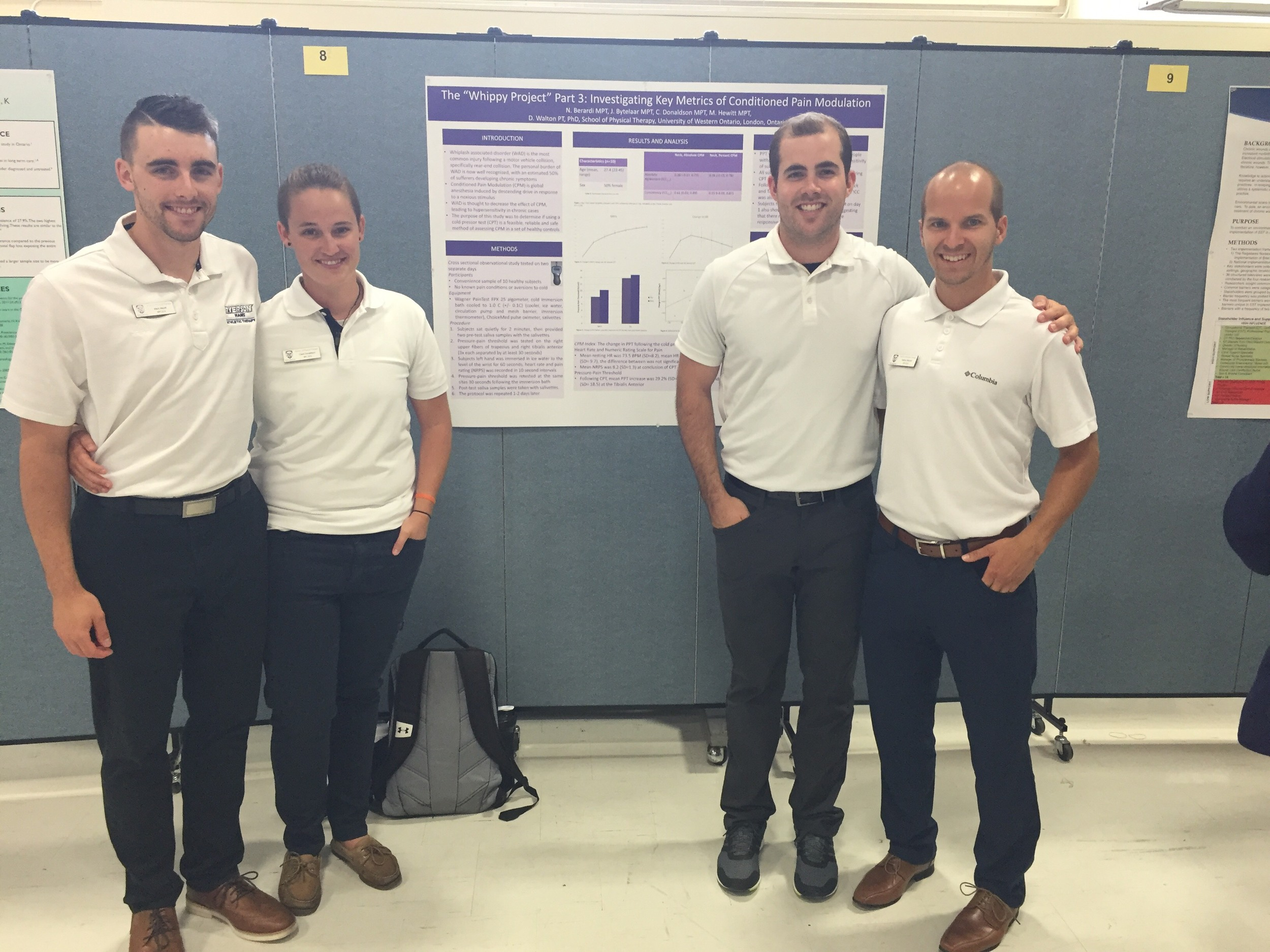 Mark Hewitt, Claire Donaldson, Jordan Bytelaar and Nathan Berardi presented their exploration of the measurement properties of pressure pain threshold and conditioned pain modulation including physiological measures of distress as part of the 'Whippy' whiplash simulation project currently under development.