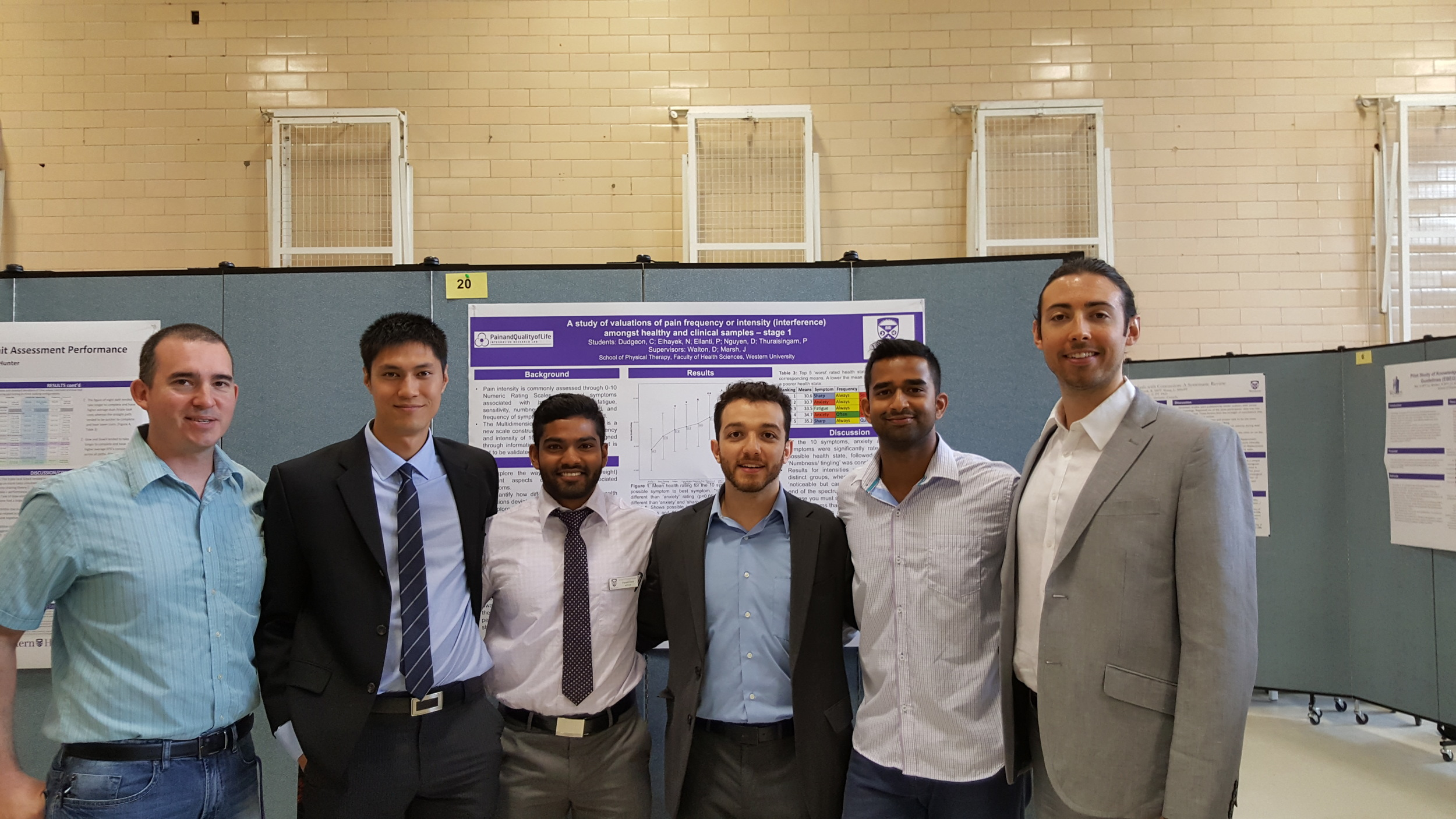 David Nguyen, Praneeth Ellanti, Nader Elhayek, Piramilan Thuraisingam and Cody Dudgeon present their work on the new Multidimensional Symptom Index, a symptom x frequency x intensity-based self-report measure that quantifies up to 120 different health states.  This work is continuing and the MSI should be ready for publication by the end of 2016.