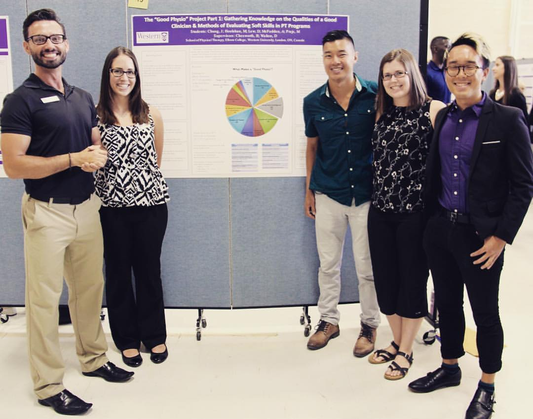 Maciej Prajs, Megan Houlahan, Dan Lew, Amanda McFadden, and josh chung presented their work on the 'Good Physio' project, finding (not surprisingly) that there's a whole lot more to being a good physio than hands-on instrumental skills, but at the same time the bulk of PT training is overwhelmingly focused on those hard skills.  This project is ongoing.