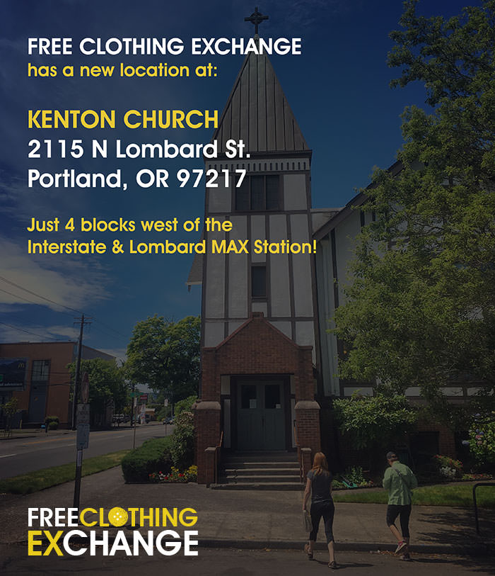 This summer's Free Clothing Exchange will be hosted at  Kenton Church: 2115 N Lombard Street - 97217.