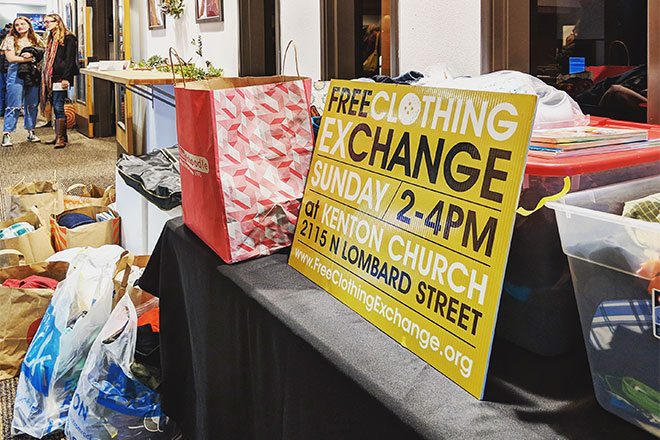 In DEC, folks at Mosaic Church in Portland's Hollywood District donated a mountain of clothes to the FCE, which we will be sorting and getting on the racks during the first two exchange events of 2019.