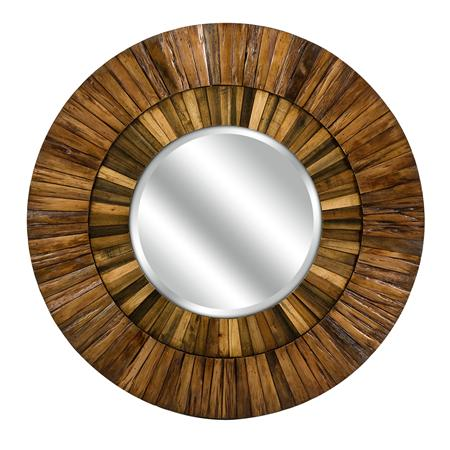 Shades of Light Wood Lath Industrial Mirror $299