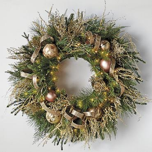 Frontgate  Mixed Metals Pre-Decorated Wreath  $429