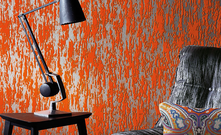 Romo Black Edition -  Zelva Flock Wallcovering  in Vermillion $290/roll $27/yd