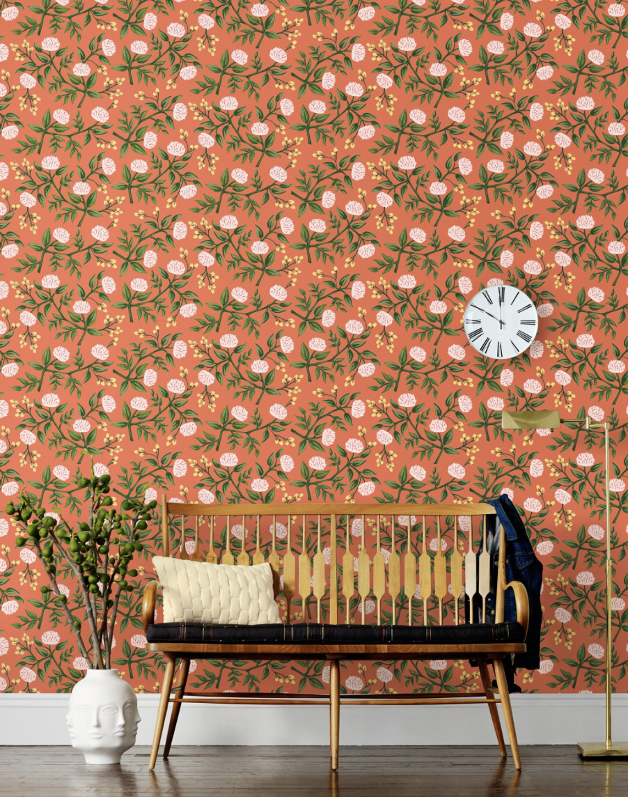 Hygge & West -  Rifle Paper Co. Peonies in Persimmon  $190/roll