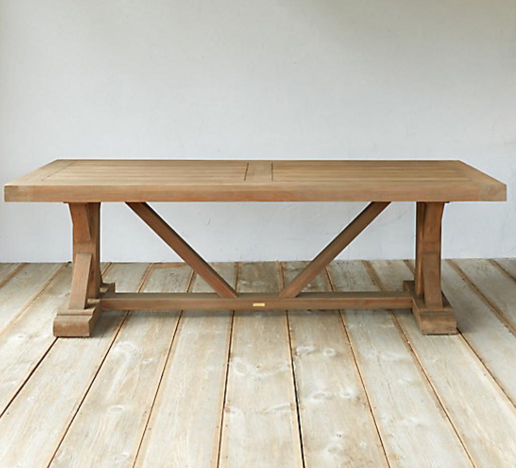 Terrain -  Protected Teak Trestle Dining Table  $3298