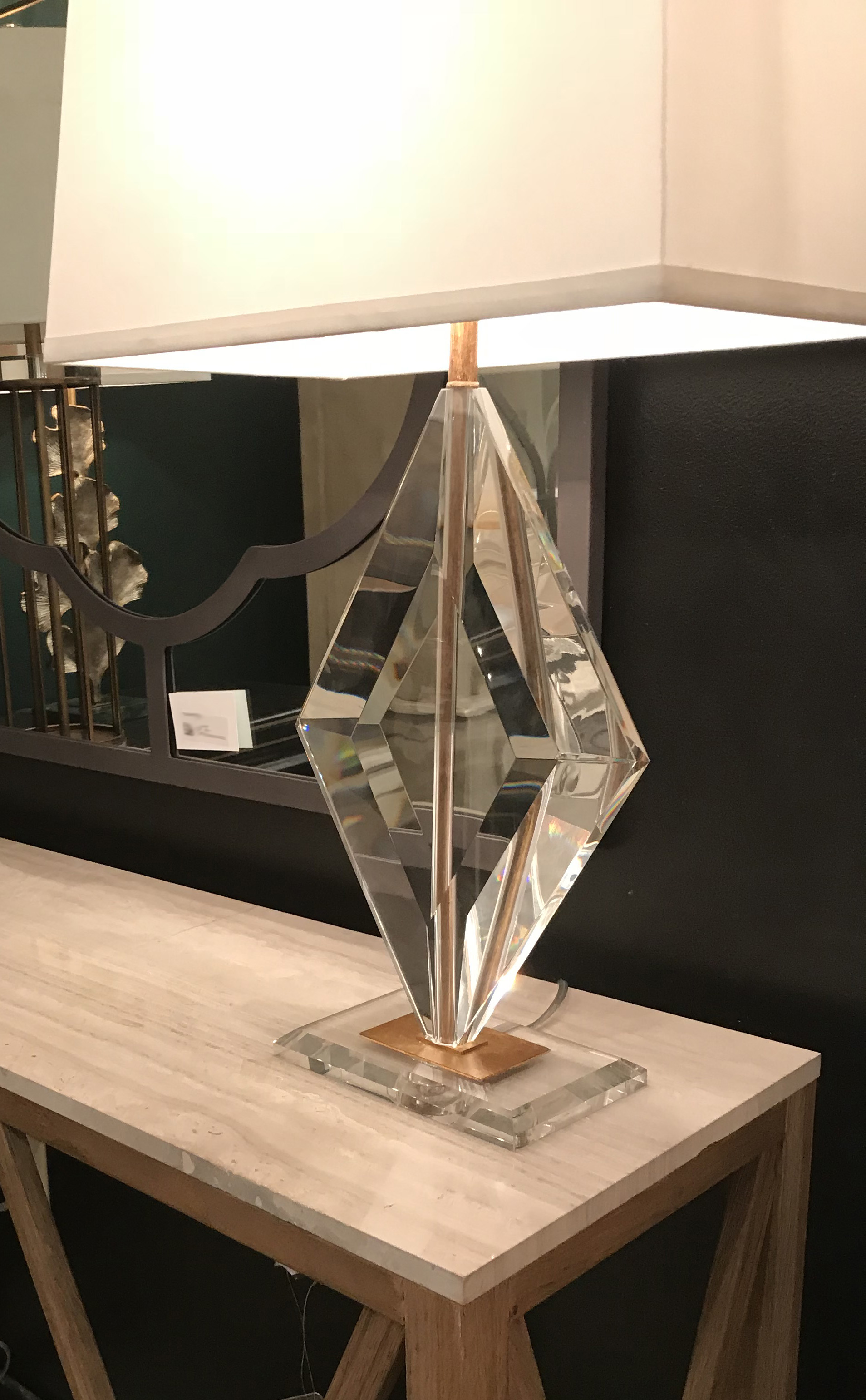 Gabby Home - both a stone top and crystal lamp base can be seen in this vignette!
