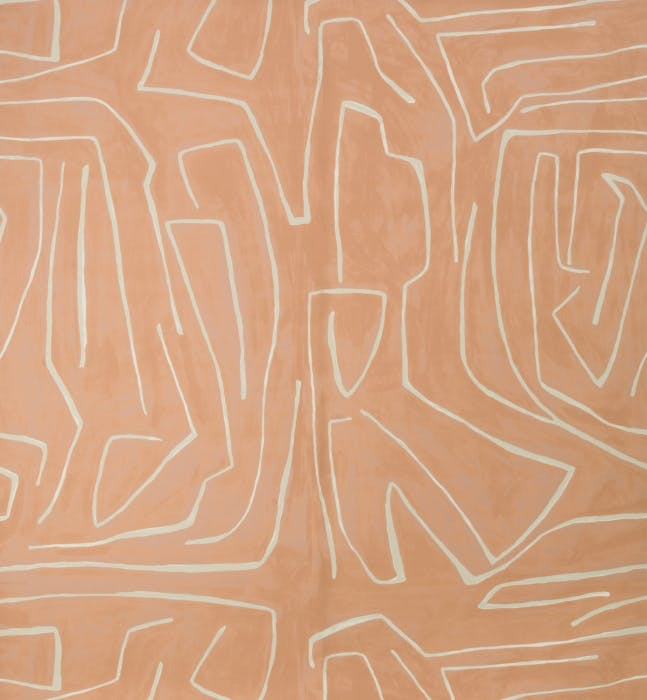 A pale version in an abstract wallcovering pattern. Kravet by Kelly Wearstler - Graffito in Salmon/Cream $570/2 roll set