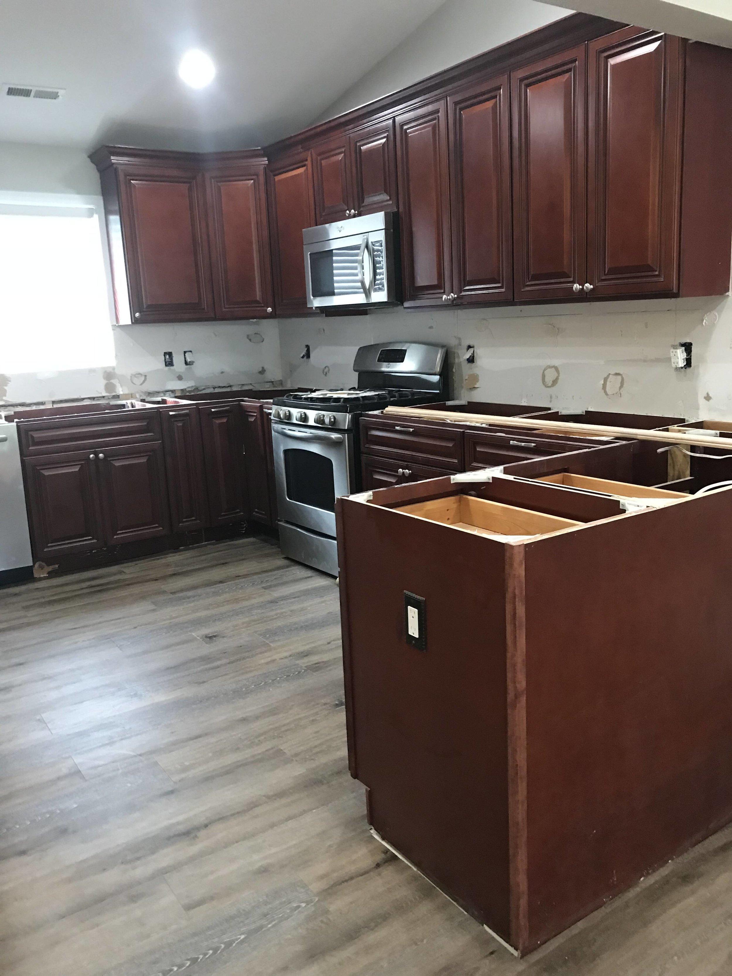 Backsplash, c-top removed and new floor installed