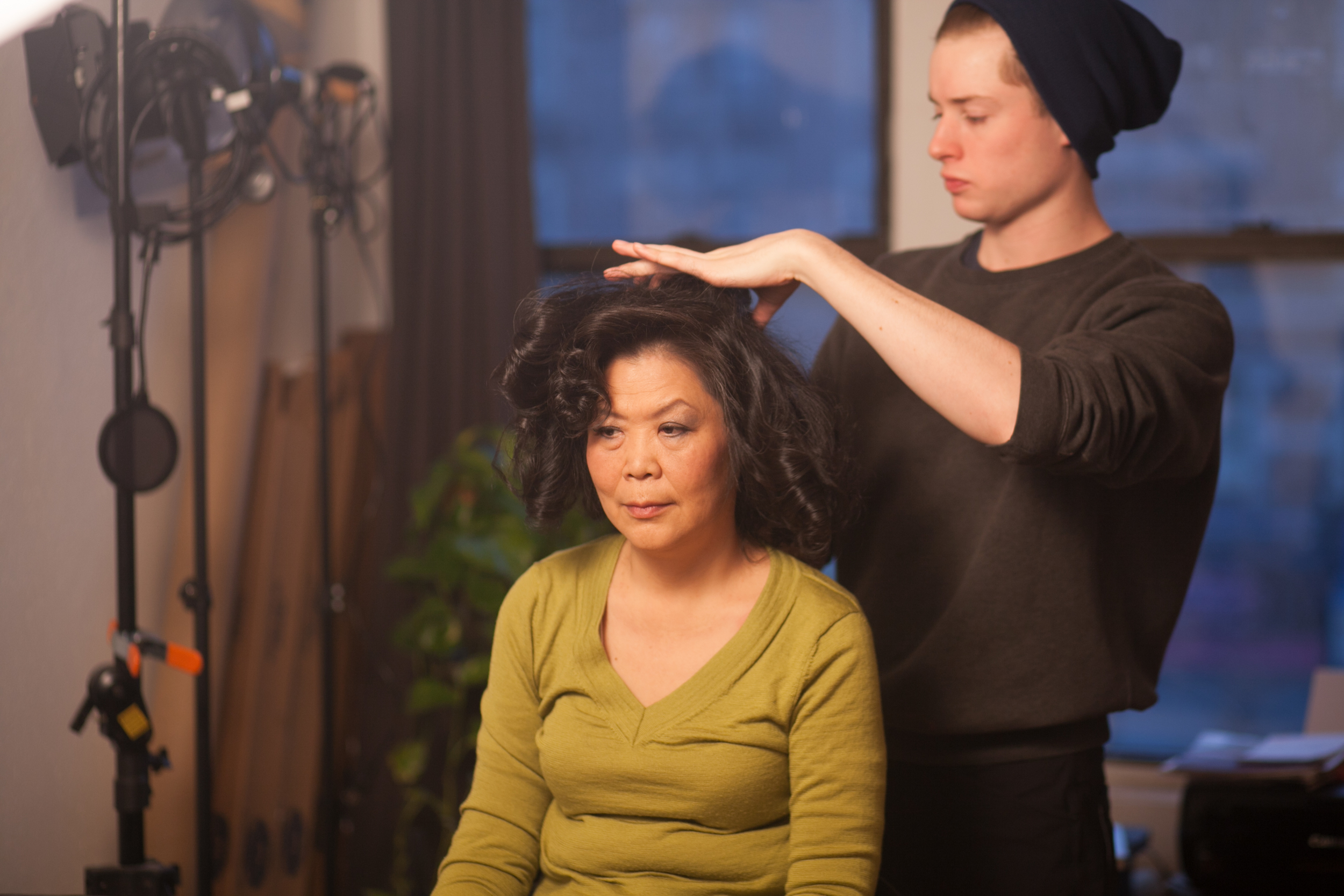 6 am hair/make-up call for Wendy Huang (Mrs. Yue) with hair stylist Blake Clendenin.