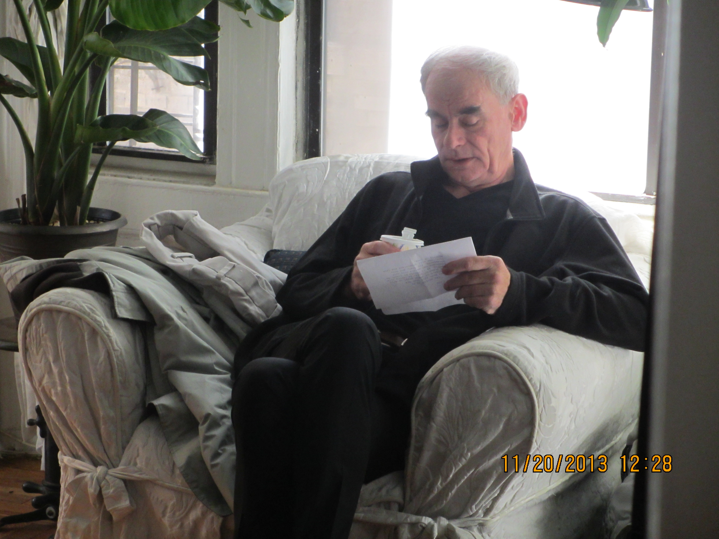 Actor Bill Ingest (Priest) going over his lines before on the morning of the shoot.