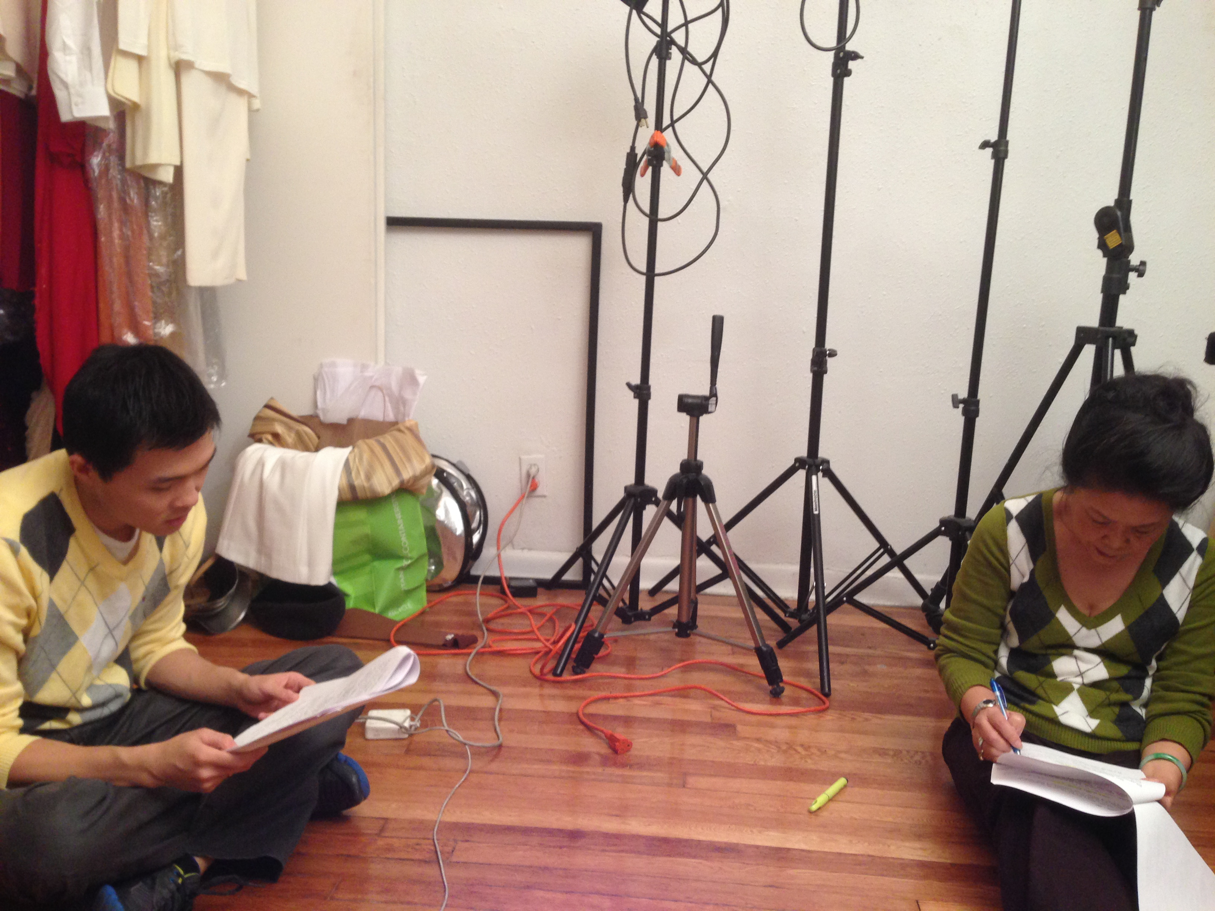Actors Zilong Zee and Minwen Huang during a read through.