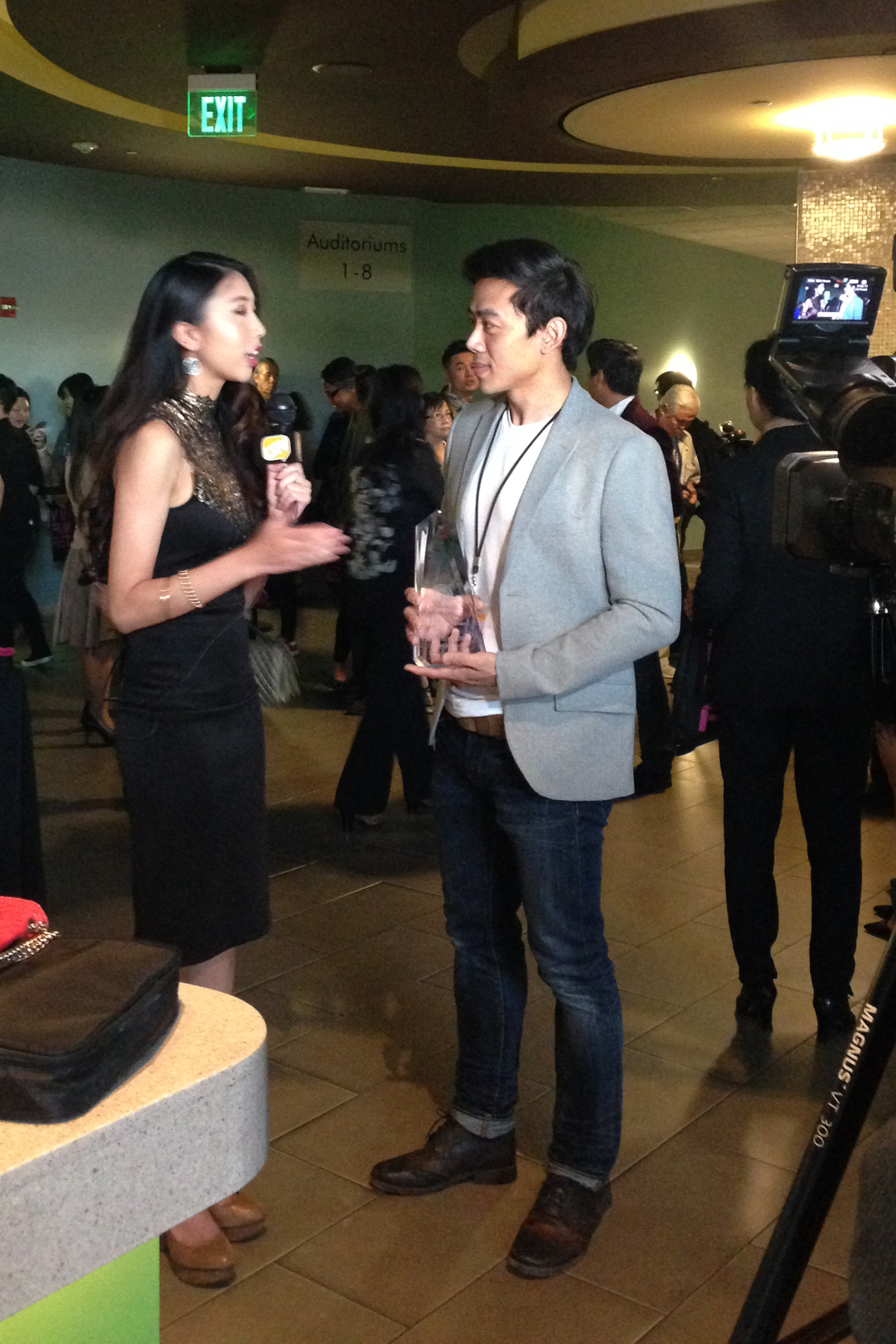 Director Leon Le being interviewed after received the Best Short Film Award at the Viet Film Fest 2015.