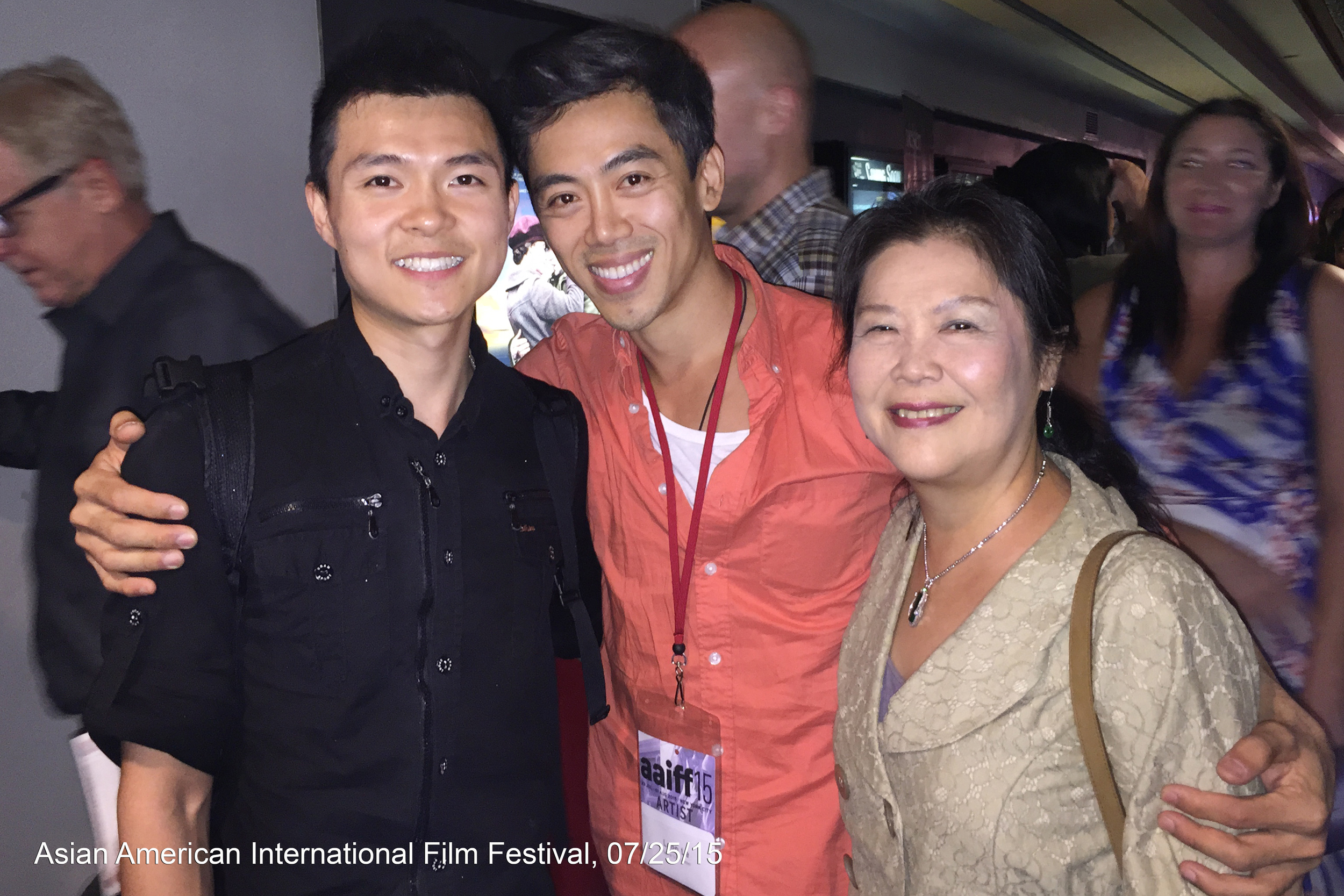 Actor Zilong Zee (Michael), director Leon Le and actress Min-Wen Huang (Mrs. Yue) at the Asian American International Film Festival screening in New York City, 07/25/2015.
