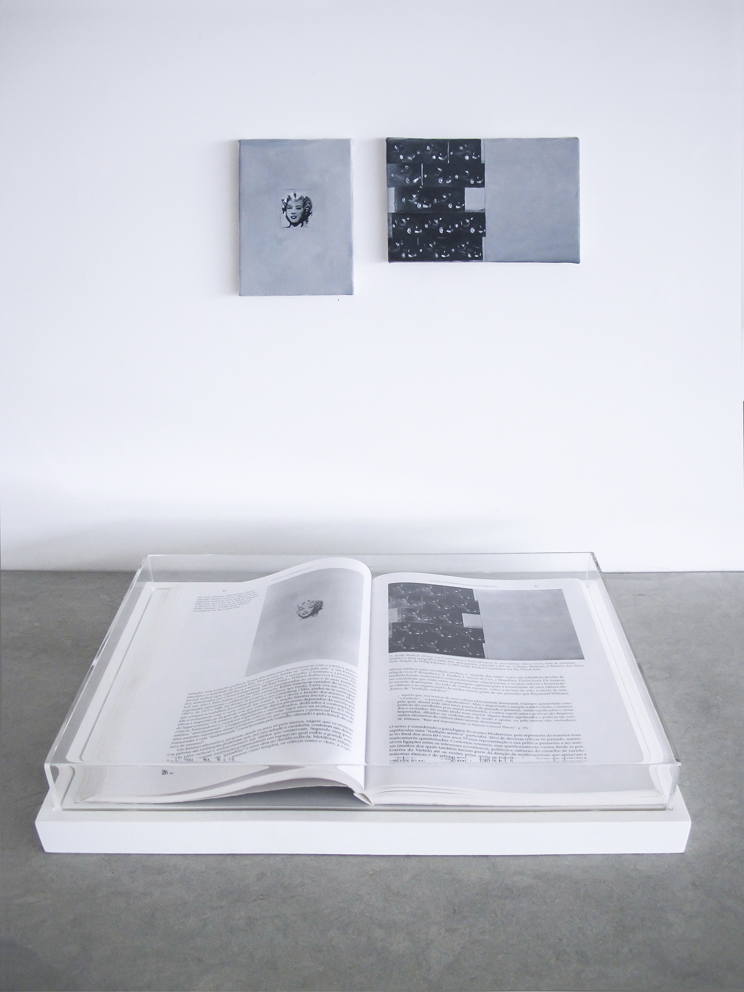 Pages 80 and 81   (  That's How I Was Taught series  )  •  2013 •  Framed book, oil on canvas   •    12.4 x 18.3 in (book)  , 5.1 x 3.5 in, 4 x 6.1 in