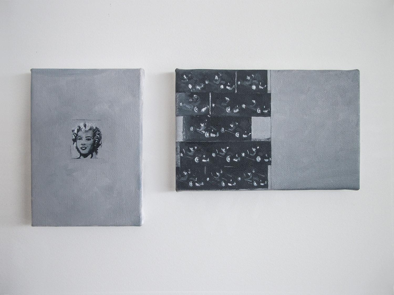 Páginas 80 e 81 (sérieFoiAssimQueMeEnsinaram) (detalhe) •2013 •Livro emoldurado, óleo sobre tela •29 x 43 cm (livro), 13 x 9 cm, 10 x 15,5 cm