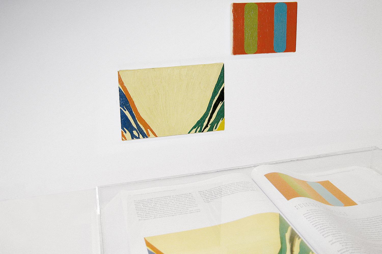 Páginas 524 e 525 (série Foi Assim Que Me Ensinaram) •2006 • Livro emoldurado, óleo sobre tela•30 x 46,5 cm (livro), 11,5 x 17,3 cm, 8,5 x 11,5 cm