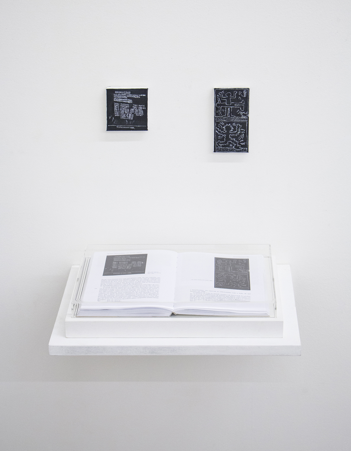 Pages 174 and 175(  That's How I Was Taught series  ) • 2014 • Framed book, oil on canvas • 8.45 x 12.2 in (book), 2.9 x 3 in, 2.35 x 4.6 in