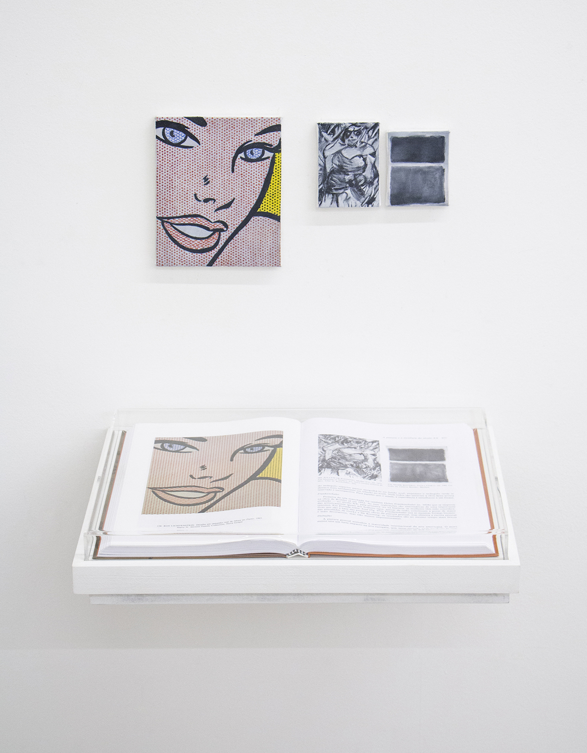 Pages 976 and Unnumbered (  That's How I Was Taught series ) •2014 • Framed book, oil on canvas • 11.8 x 16.5in (book), 5.3 x 6.5 in, 2.55 x 3.65 in, 2.55 x 3.2 in