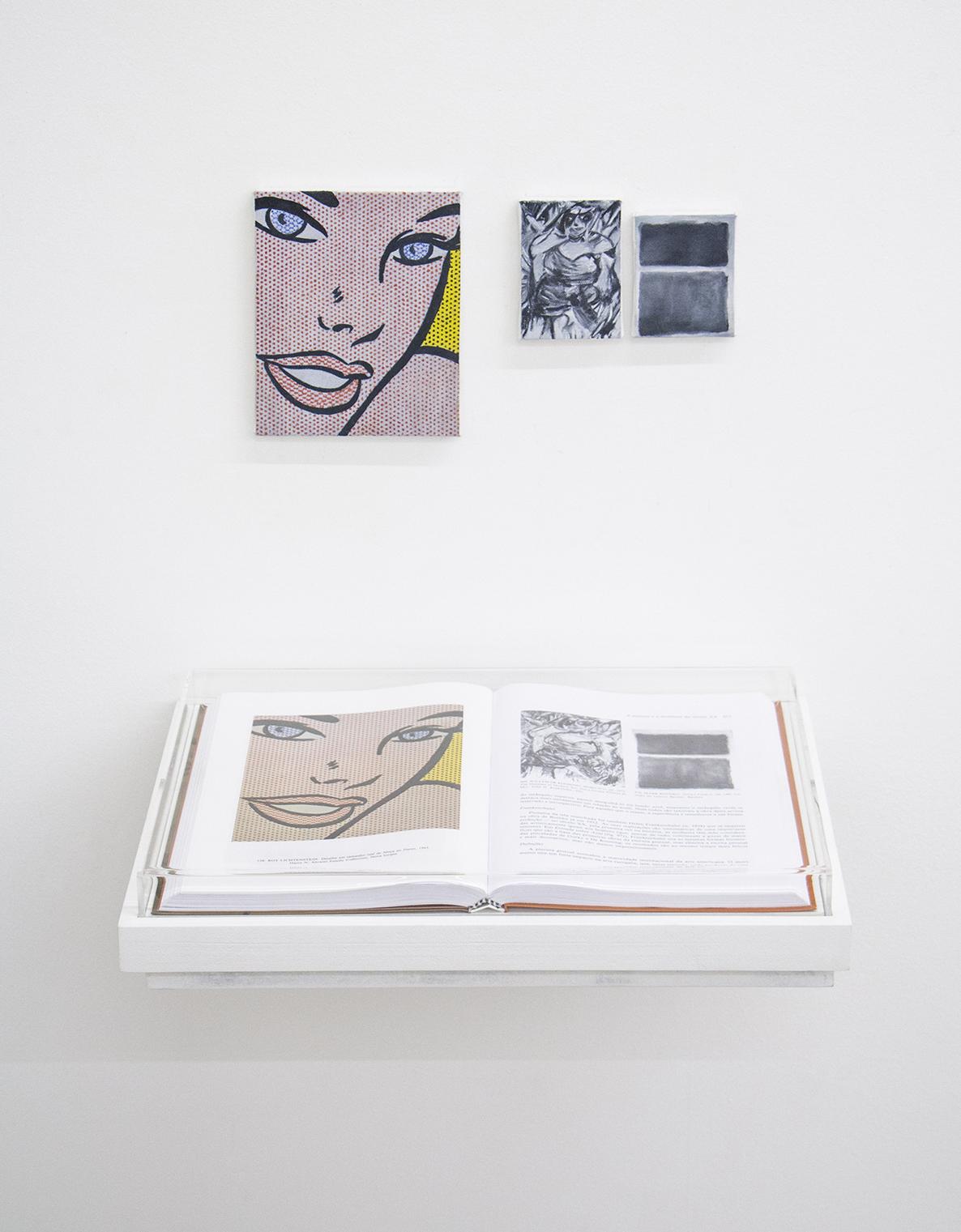 Páginas 976 e sem número (série Foi Assim Que Me Ensinaram) •2014 •Livro emoldurado, óleo sobre tela •30 x 42 cm (livro), 8,5 x 6,2 cm, 3,5 x 2.9 cm, 8,5 x 12 cm