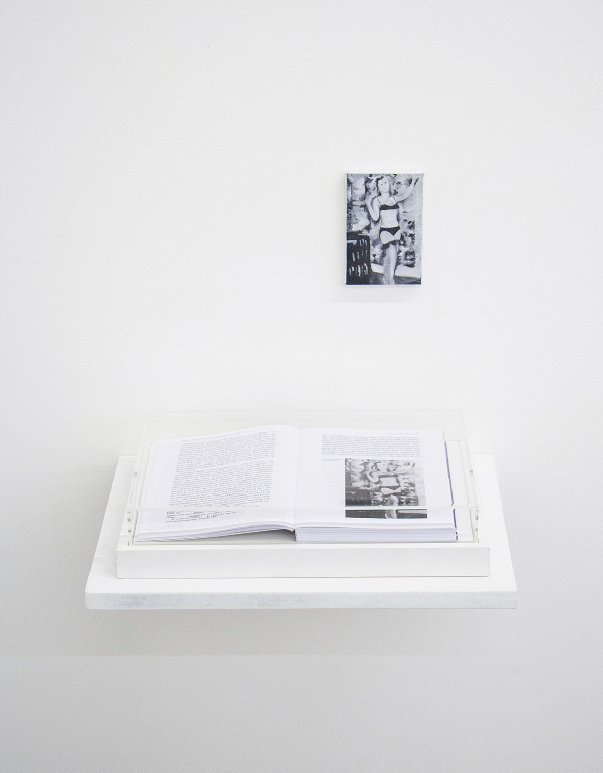 Pages 30 and 31  (  That's How I Was Taught series  )  •2014 • Framed book, oil on canvas  •8.45 x 12.2 in (book), 3 x 4.5 in