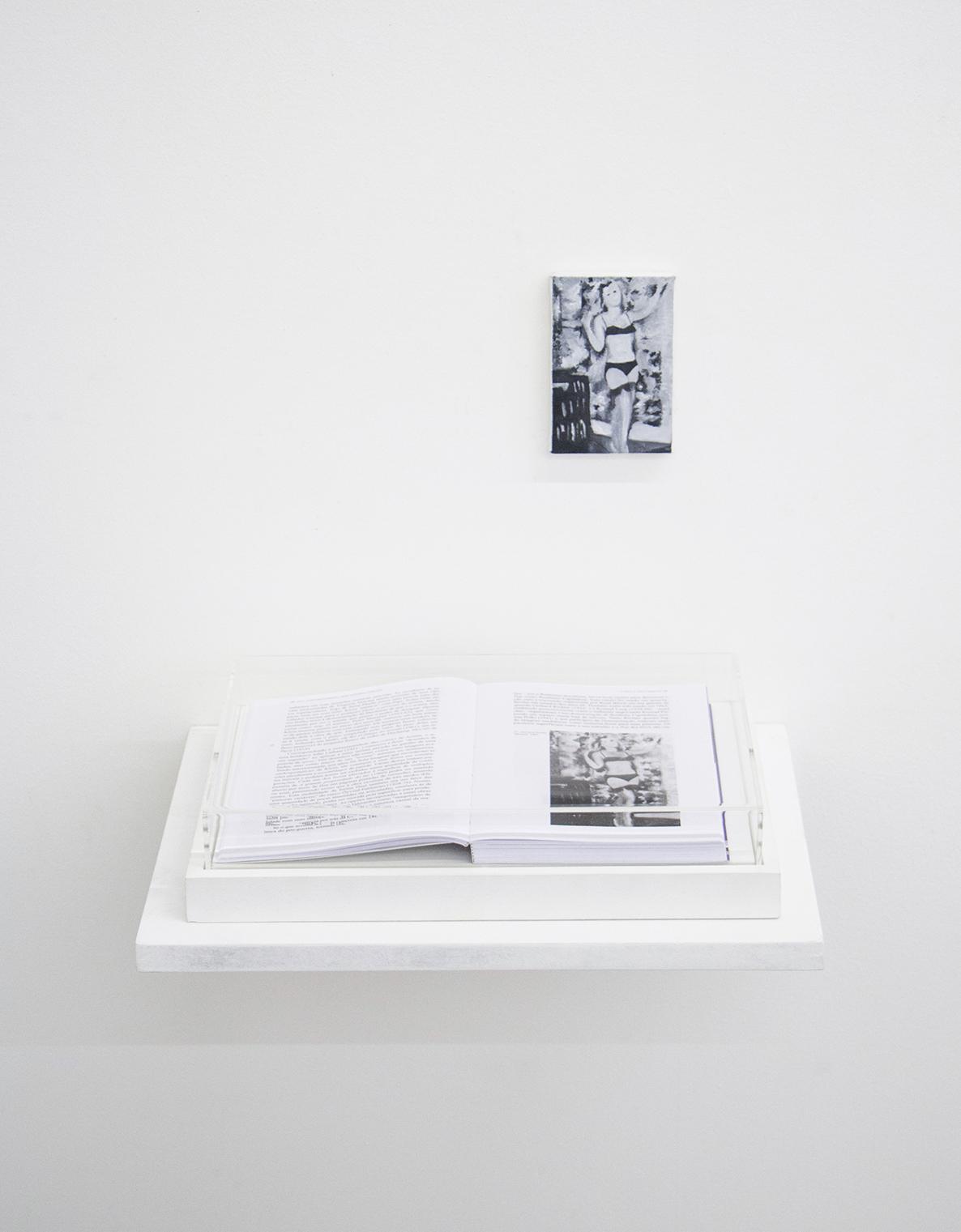 Páginas 30 e 31 (série Foi assim que me ensinaram) •2014 •Livro emoldurado, óleo sobre tela •21,5 x 31 cm (livro), 7,6 x 11,5 cm