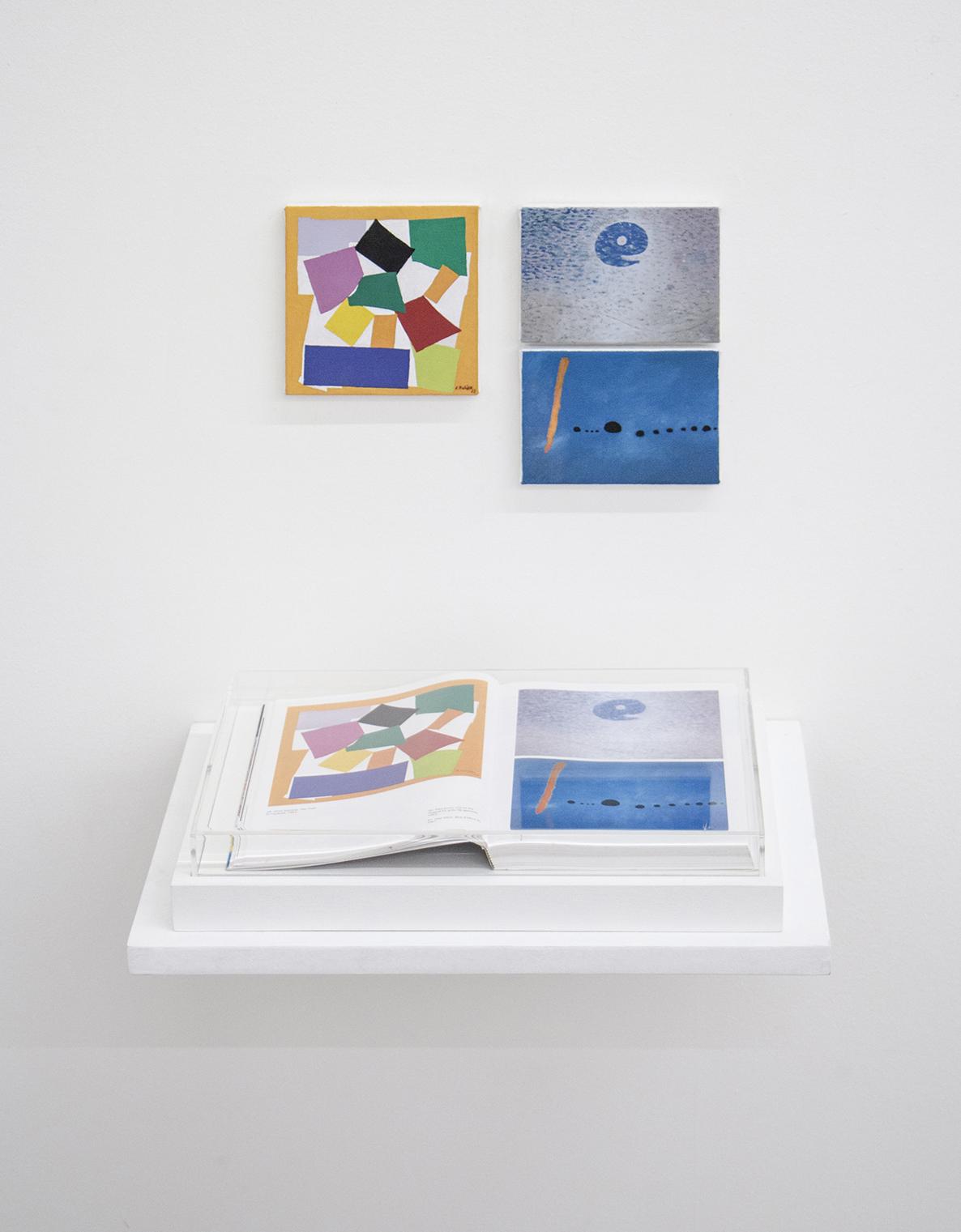 Páginas sem número (série Foi Assim Que Me Ensinaram) •2014 •Livro emoldurado, óleo sobre tela •21,5 x 31 cm (livro), 13 x 13 cm, 12,5 x 9 cm, 12,5 x 9 cm