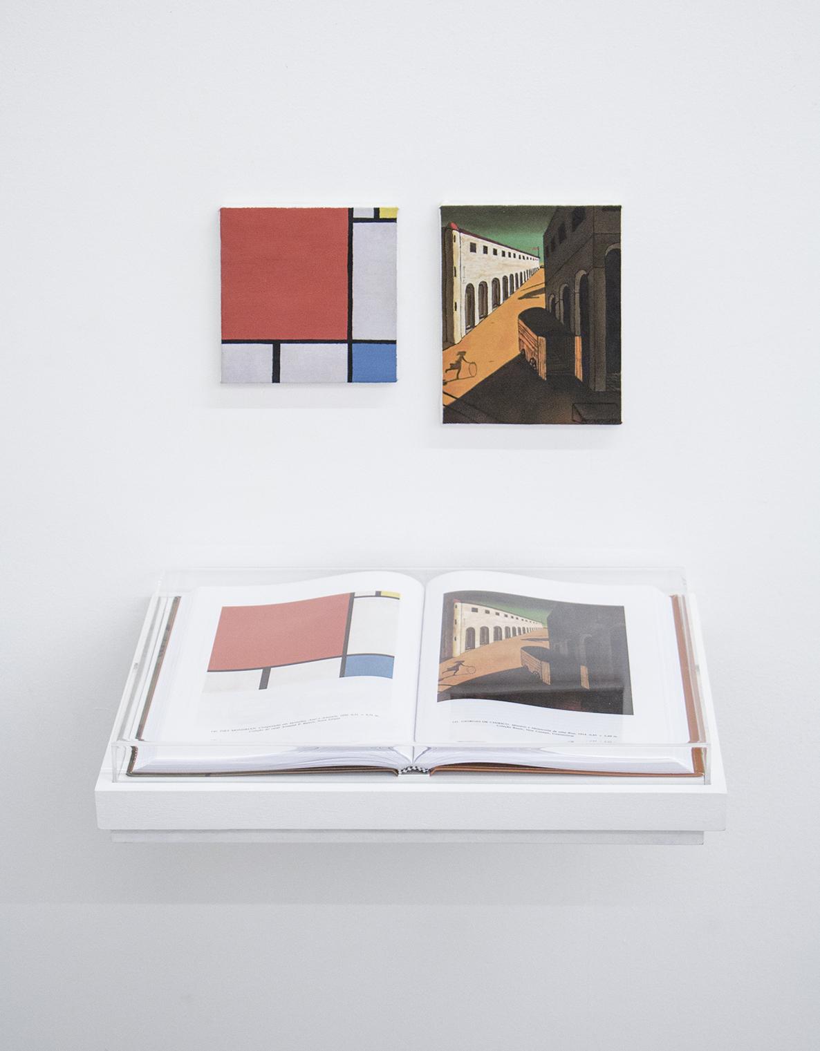 Páginas 140 e 141 (série Foi Assim Que Me Ensinaram)• 2014 •Livro emoldurado, óleo sobre tela •30 x 42 cm (livro), 13,5 x 13,5 cm, 13,5 x 16,7 cm