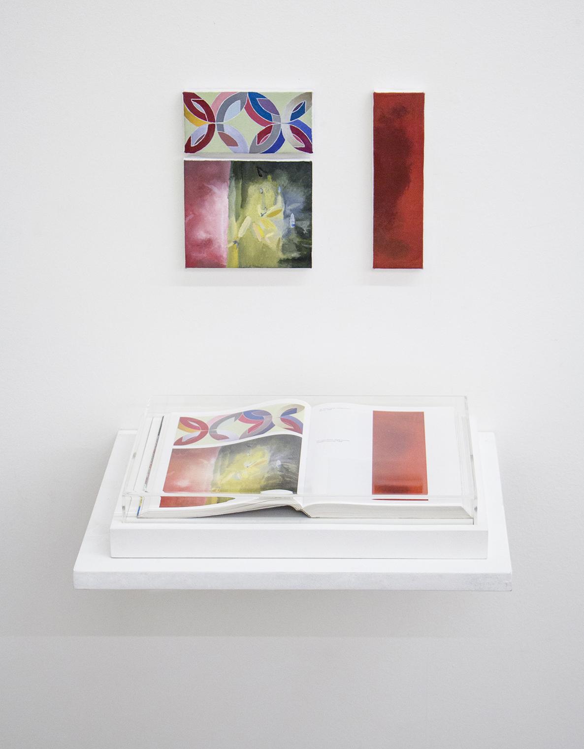 Páginas sem número (série Foi Assim Que Me Ensinaram) •2014 •Livro emoldurado, óleo sobre tela •21,5 x 31 cm (livro), 13 x 6,5 cm, 13 x 11 cm, 5 x 18,5 cm